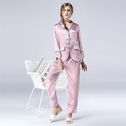 Moda Europa y los Estados Unidos pijamas de seda de primavera y otoño de seda de