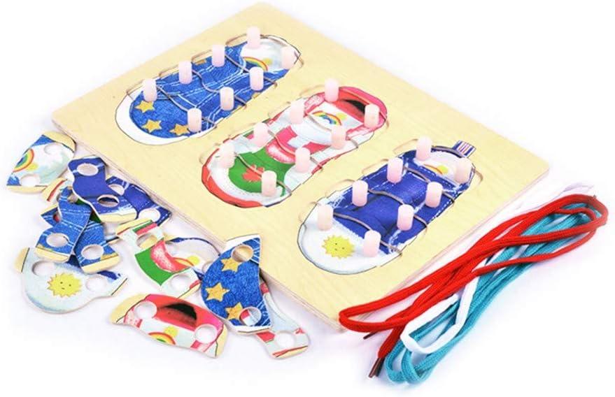 Jouets /éducatifs Jouets de Jeu Cadeau dapprentissage pour Enfants Tout-Petits Enfants Enfants Early Learning Ressources Jouets /éducatifs Chaussures en Bois La/çage Vente li/ée Tie Conseil 1PC