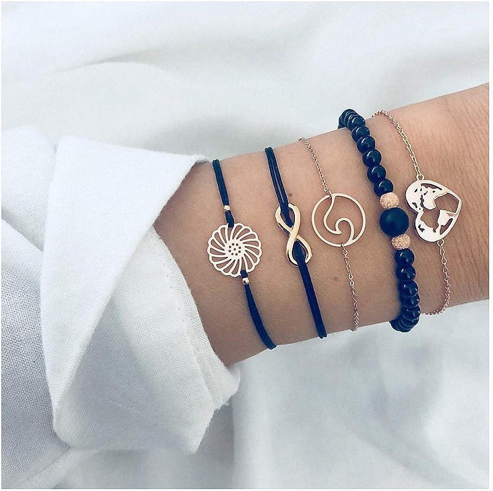 Hynsin 4 pcs//Set Arrow Knot Round Crystal Bracelets Set Multilayer Adjustable Open Bracelet for Women Bangles Jewelry
