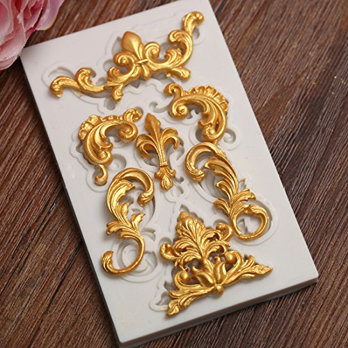 Astra Gourmet 1PC Baroque Style Curlicues Scroll Lace Fondant Silicone Mold for Sugarcraft, Cake Border Decoration, Cupcake Topper, Jewelry, Polymer Clay, Crafting Projects - Baroque Border