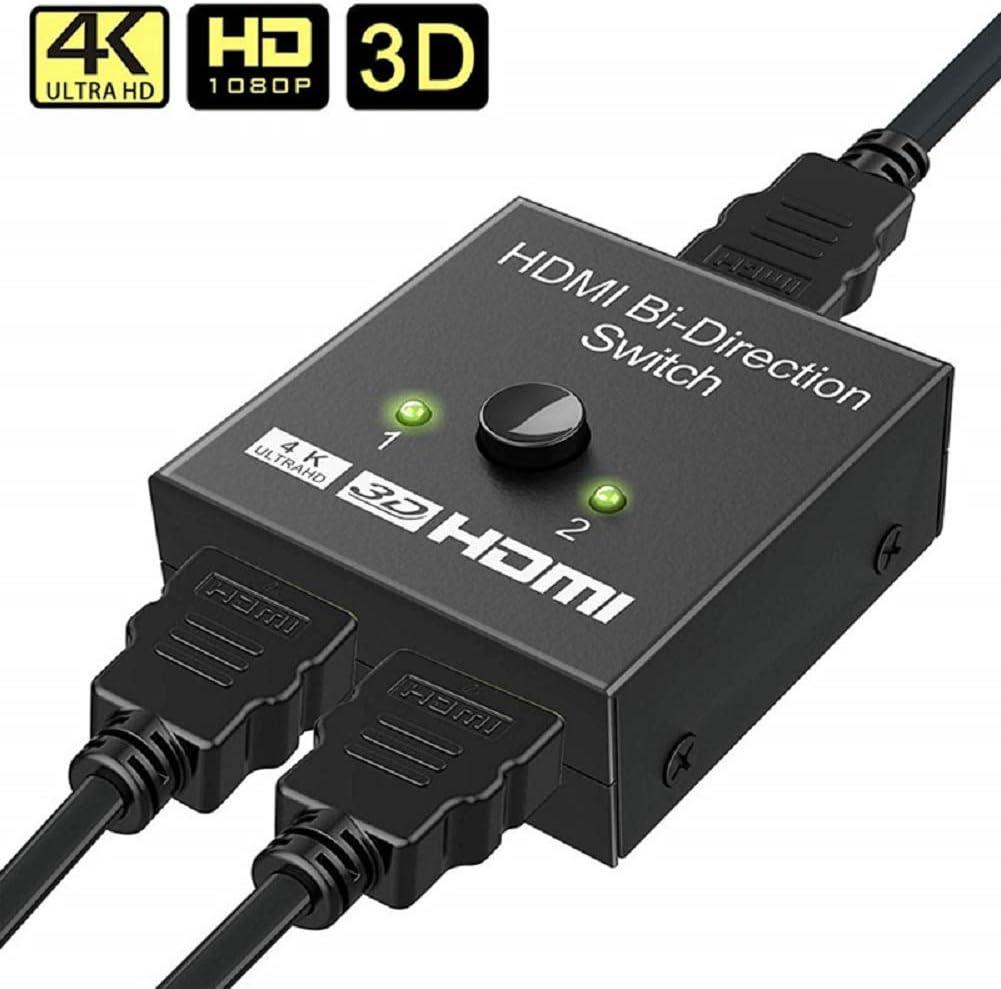 Divisor HDMI, Interfaz chapada en Oro, conmutador HDMI bidireccional de Aluminio, 2 x 1/1 x 2, 3D/4K HD 1080P HDMI Interruptor Divisor para Xbox/PS4/HDTV/TV Box/Notebook/PC: Amazon.es: Electrónica