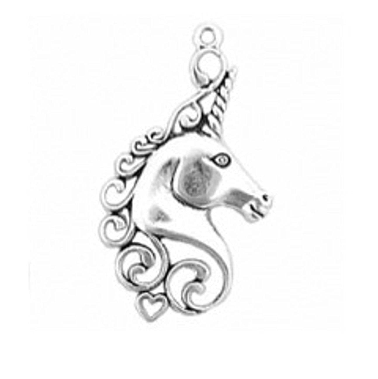 Sterling Silver Girls .8mm Box Chain One Sided Scrolled Heart Unicorn Pendant Necklace