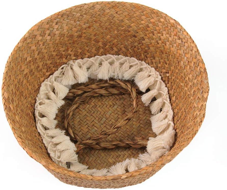 BlueMake Cesta de Mimbre Tejida a Mano para decoraci/ón de jard/ín Small, Golden Cesta de Mimbre Cesta para el hogar