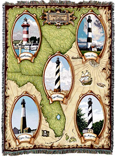 Pure Country Weavers | Lighthouses of The Southeast Harbor Town Cape Hateras Bodie Saint Augustine Tybee Island Woven Tapestry Throw Blanket Collector Gift with Fringe Cotton USA 72x54