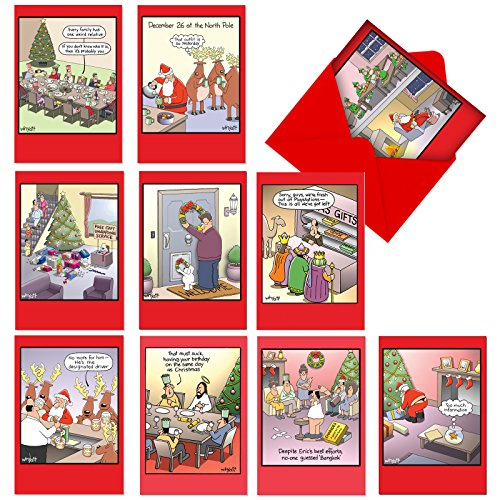 10 Funny Christmas Cards With Envelopes 4.63 x 6.75 inch - Assorted Boxed Greeting Cards