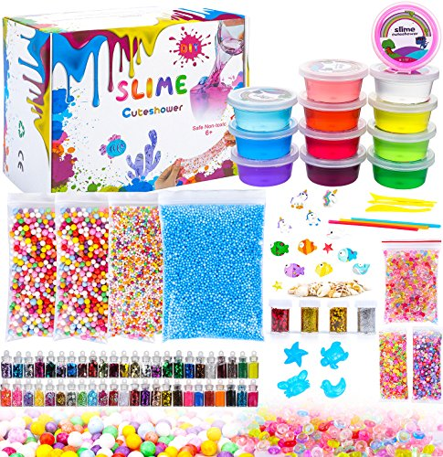 Diy Slime Kit for Kids,Cuteshower 12 Clear Slime,4 Packs Colorful Foam Balls,1 Pack Fruit Slices,1Pack Fishbowl Beads,52 Glitter,4 Unicorn,with DIY Slime Tools for Boys and Girls