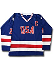 4449ccdd2 AIFFEE Men s Hockey Jersey  21 Eruzione USA Ice Hockey Jerseys Blue White  Color Size S