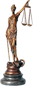 Toperkin Lady Justice Statue 8 Inch Sculptures Goddess Lawyer Home Decor TPE-261