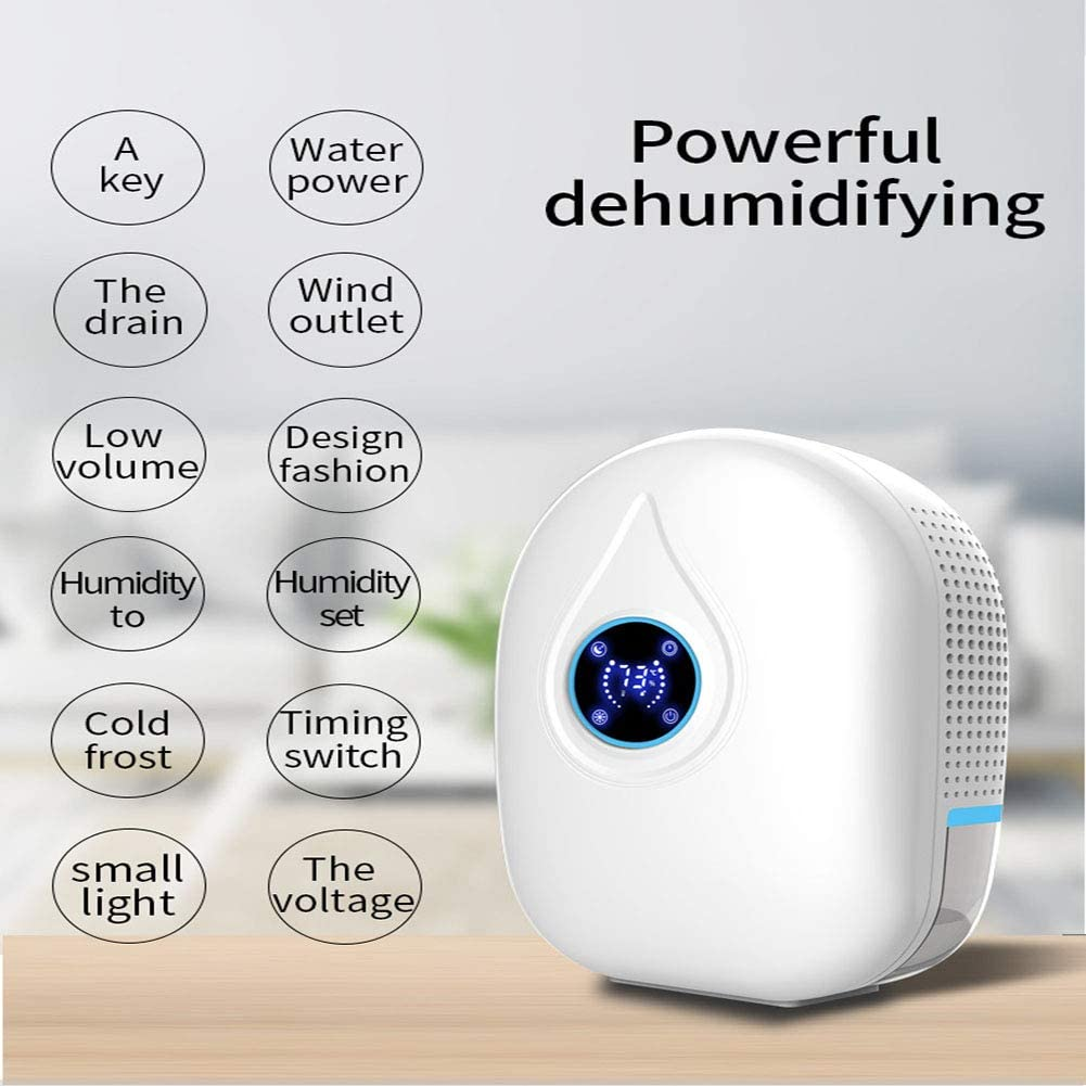 SCYDAO Small Home Dehumidifier, Remote Control 216Ft ^ 2, 500Ml Mini Dehumidifier, Drain Hose, Suitable for Wardrobe, Bedroom, Bathroom, RV, Basement,Red Blue