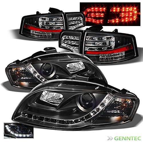 For 2006-2008 Audi A4 S4 B7 DRL LED Projector Headlights + LED Tail Lights 2007