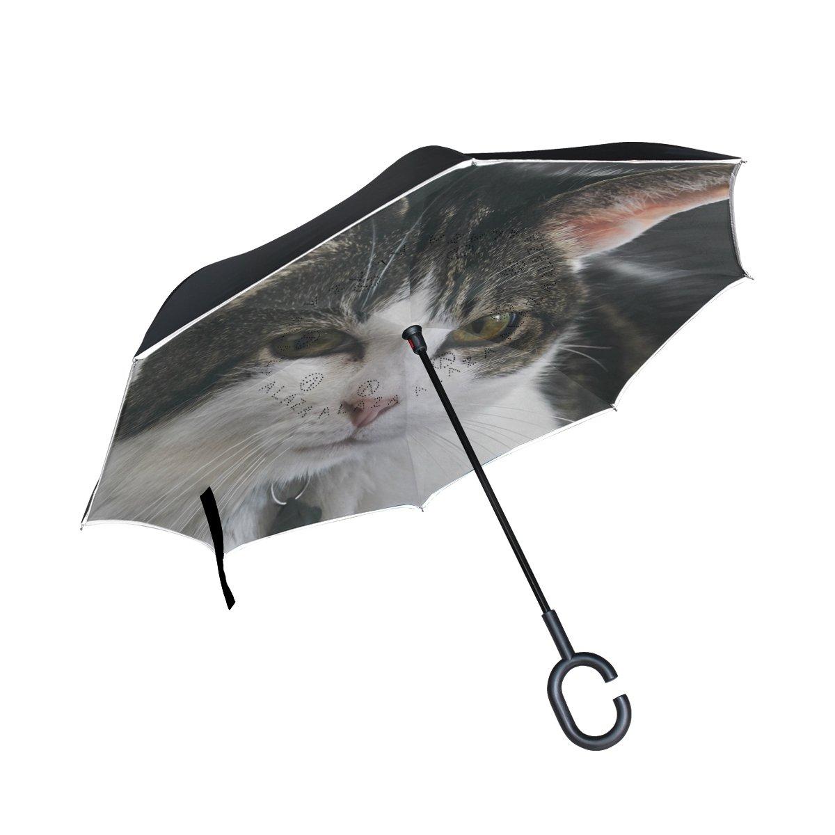ISAOA Paraguas grande invertido paraguas resistente al viento doble capa construcción reversible plegable paraguas para coche lluvia uso al aire libre, ...