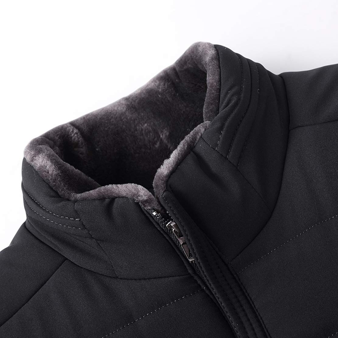 Chartou Mens Winter Stand Collar Metal Zip Cotton Quilted Thermal Jacket Coat Outwear