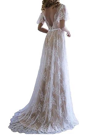 6128d4c30e Elleybuy Women s Short Sleeves Lace Beach Wedding Dresses 2019 Bohemian  Bridal Gown US2 Champagne