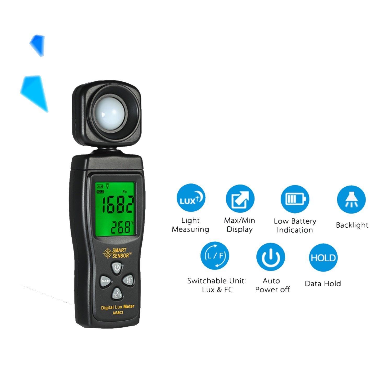 Luminance Tester Digital Lux Meter Light Meter 1-200000 Lux Tools Photometer Spectrometer Actinometer AS803 by WULE-Digital multimeter (Image #5)