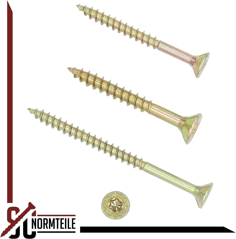 TX30 gelb verzinkt Spanplattenschrauben 6x180 mm SC200 I-Stern 5 St/ück SC-Normteile - Senkkopf//Teilgewinde//Fr/äsrippen