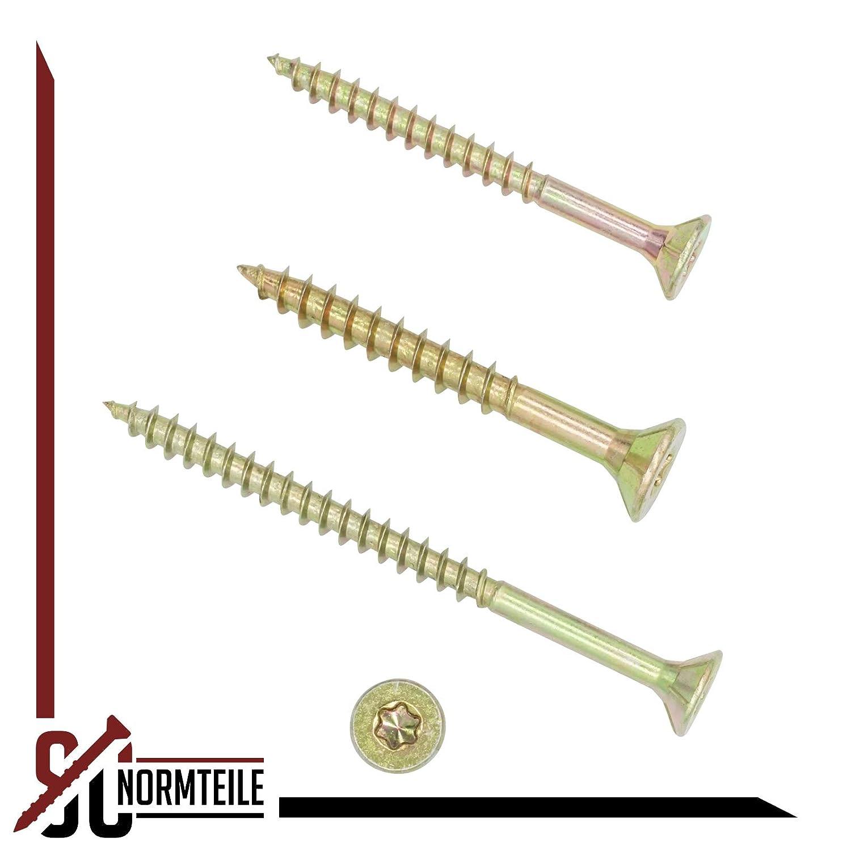 gelb verzinkt Spanplattenschrauben 6x70 mm SC-Normteile - Senkkopf//Teilgewinde//Fr/äsrippen TX30 100 St/ück I-Stern SC200
