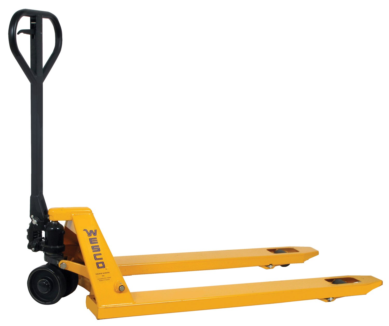 Wesco Industrial Products 272149 Economizer Pallet Truck with Handle, Polyurethane Wheels, 4400 lb. Load Capacity, 63'' Length x 27'' Width x 48-1/4'' Height