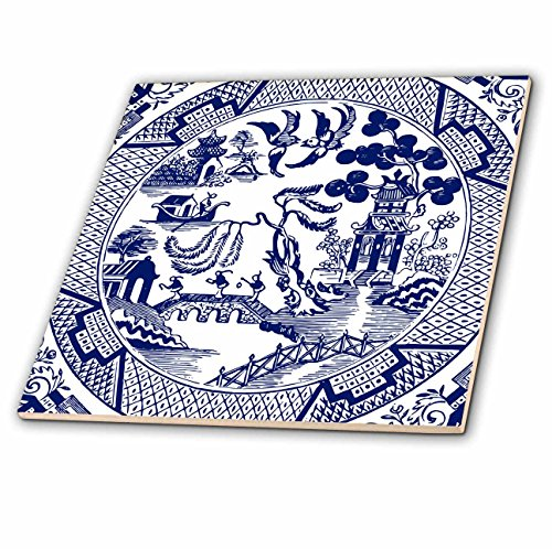 3dRose Willow Pattern Detail in Blue and White Tile, 8 x 8