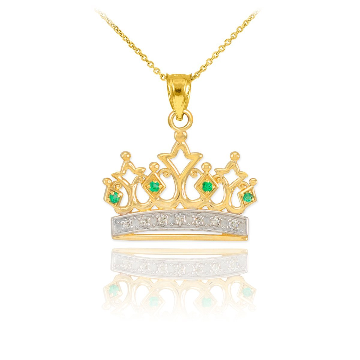 Royal 10k Yellow Gold Emerald and Diamond Tiara Charm Crown Pendant Necklace