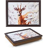 Wooden Lap Tray with Cushion Padded Base, Pack of 2 - WINTER DEER - Bean Bag Cushioned Laptrays for Meals or Laptop Use