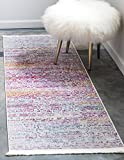 Unique Loom Baracoa Collection Bright Tones Vintage Traditional Pink Runner Rug (2′ x 6′)