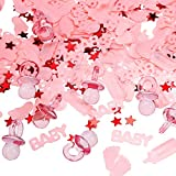 Lictin Baby Confetti Baby Shower Confetti Table Confetti Red Star Shaped Craft Sequins Adorable Coloured Confetti Baby Girl Confetti Perfect for Newborn Baby Shower Celebration Confetti Baby(Pink)