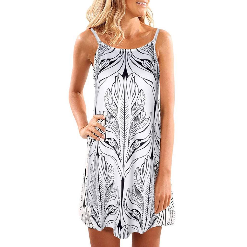 Women's Sleeveless Sling Print Dress,Mlide Women Halter Neck Floral Print Casual Mini Dress Loose Tunic Shirts,White XL