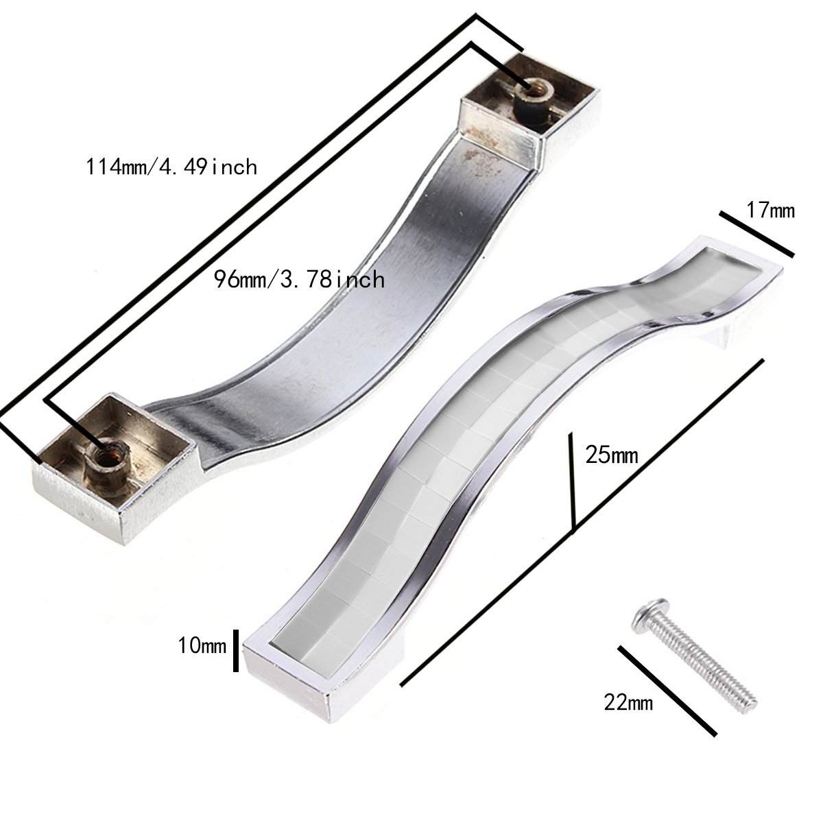 AYG 10pcs Crystal Door Knobs Cabinet Drawer Pull Handle Silver 192mm