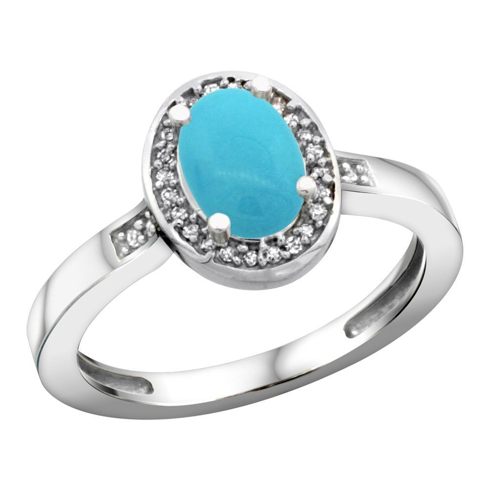 Sterling Silver Diamond Sleeping Beauty Turquoise Ring Oval 7x5mm, 1/2 inch wide, size 5.5