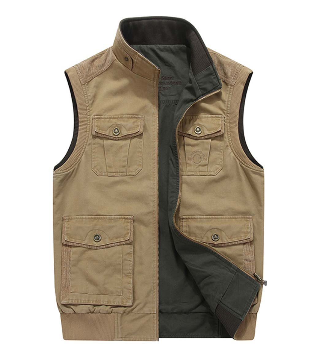 CRYSULLY Men Cotton Leisure Double-Sided Vest Military Cargo WasitVest Travels Sports Vest Khaki/US L/Tag 3XL by CRYSULLY