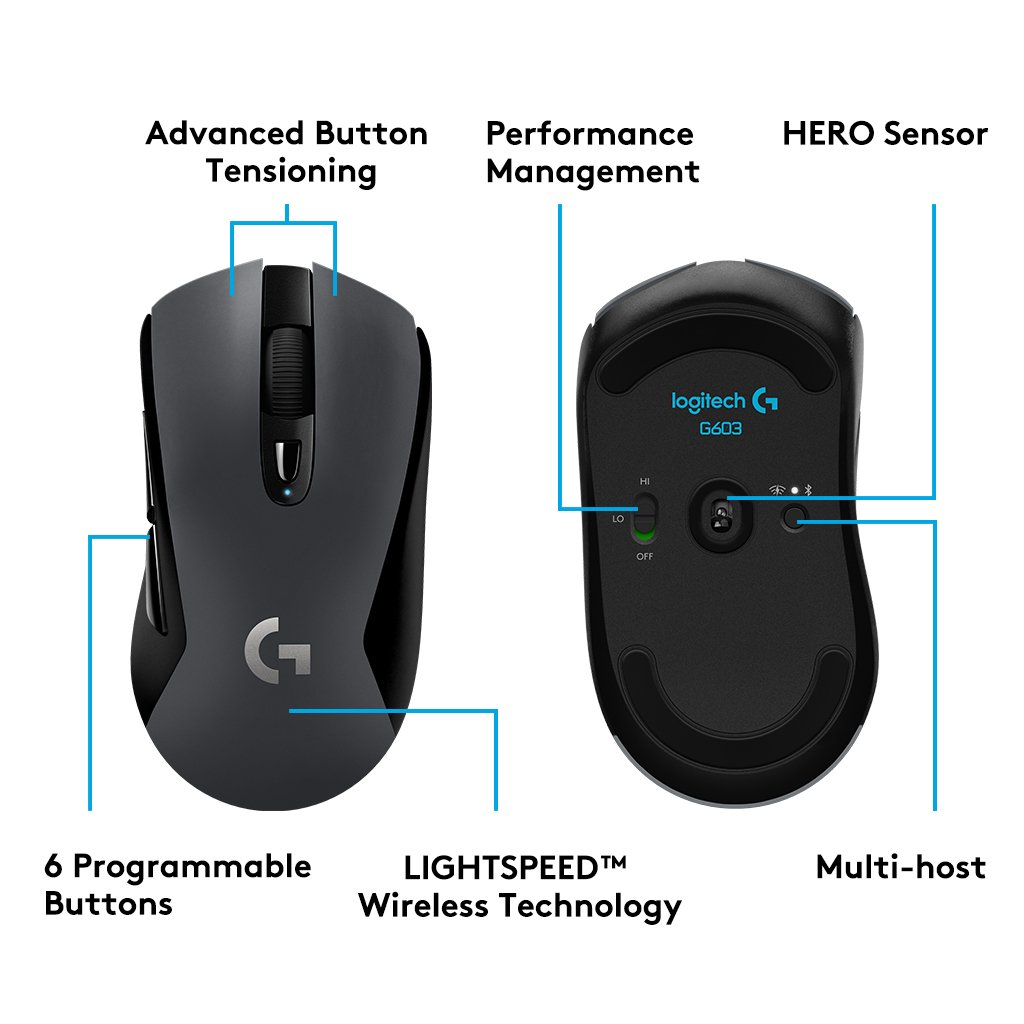 Logitech G603 Wireless Gaming Mouse with HERO optical sensor (12 000 DPI)