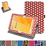 """Acer Iconia One 10 B3-A20 Rotating Case,Mama Mouth 360 Degree Rotary Stand With Cute Lovely Pattern Cover For 10.1"""" Acer Iconia One 10 B3-A20 Android Tablet,PolkaDot Red"""