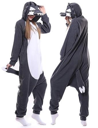008fd3fcaefd Amazon.com  Adult Wolf Onesie Pajamas Animal Cosplay Costume Chrismas  Sleepwear for Women Men  Clothing