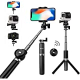 Foxnovo Selfie Stick, Bluetooth Selfie Stick with Remote Extendable Tripod Selfie Stick for iPhone X/8/7/6/Plus, Galaxy S9/S9 Plus/Note 8/S8, Android, GoPro-Black