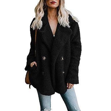 c5cd710f870a5 Byinns Women's Lapel Plush Coat Winter Open Front Plus Size Jacket ...