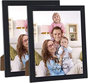 Giftgarden 8x10 Picture Frames Desktop Display and Wall Mounted Glass Front Black Photo Frame Pack of 2