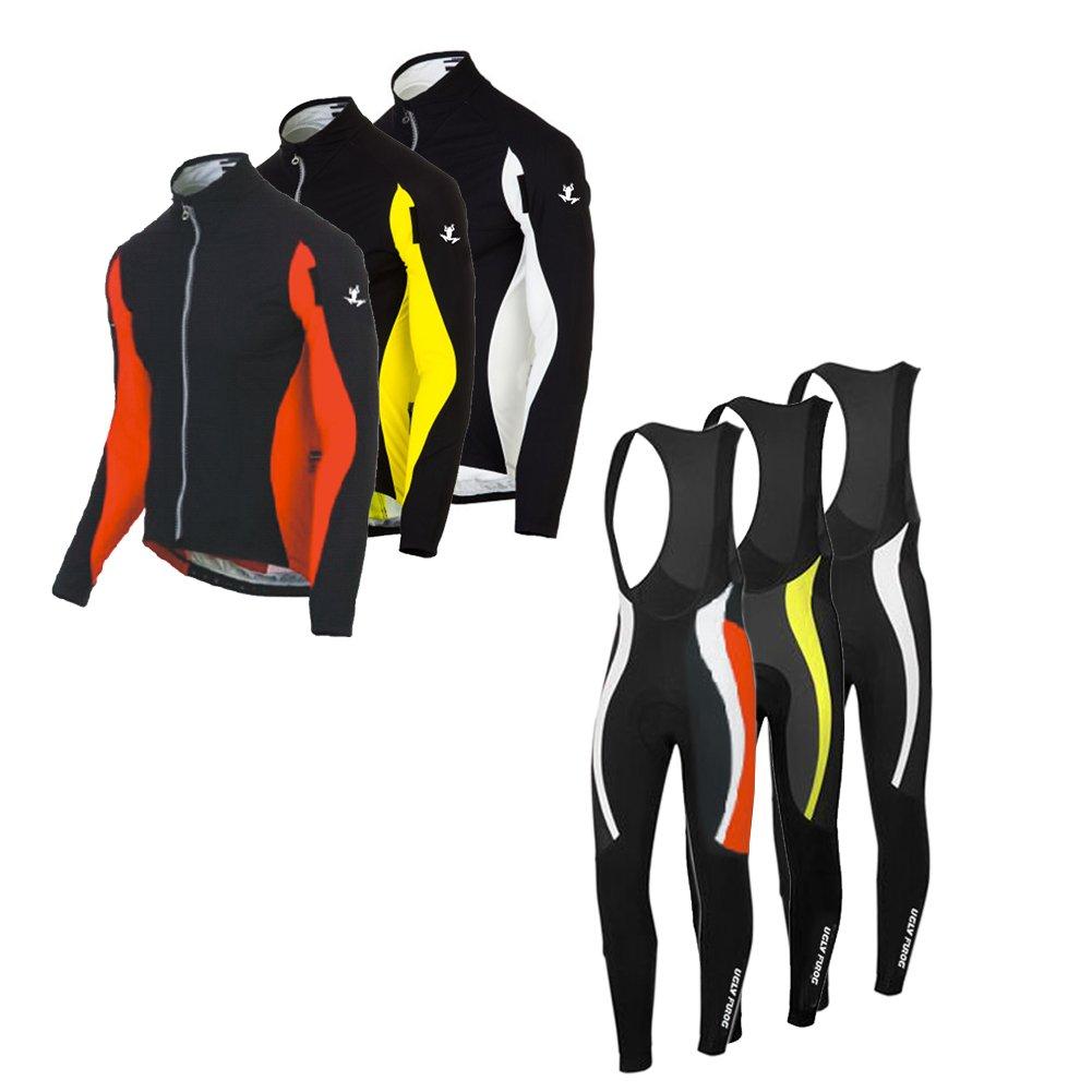 Uglyfrog Radsport Anzüge Herren Long Trikots + Lange Bib Hosen Gel Pad Frühling/Herbst Triathlon Clothes Atmungsaktiv Schnell trocknend Stoff