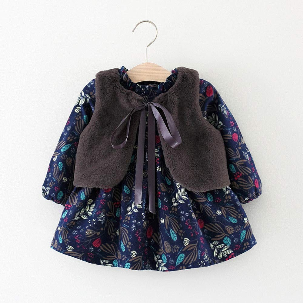 ❤ Modaworld Vestidos Niña, Vestido de Princesa Caliente recién Nacido de Dibujos Animados de niñas bebé Vestido de Fiesta+ Chaleco Conjunto de Ropa ...