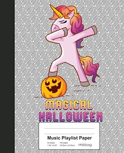 Music Playlist Paper: Book Dabbing Unicorn Pumpkin Halloween (Weezag Music Playlist Paper Notebook) -