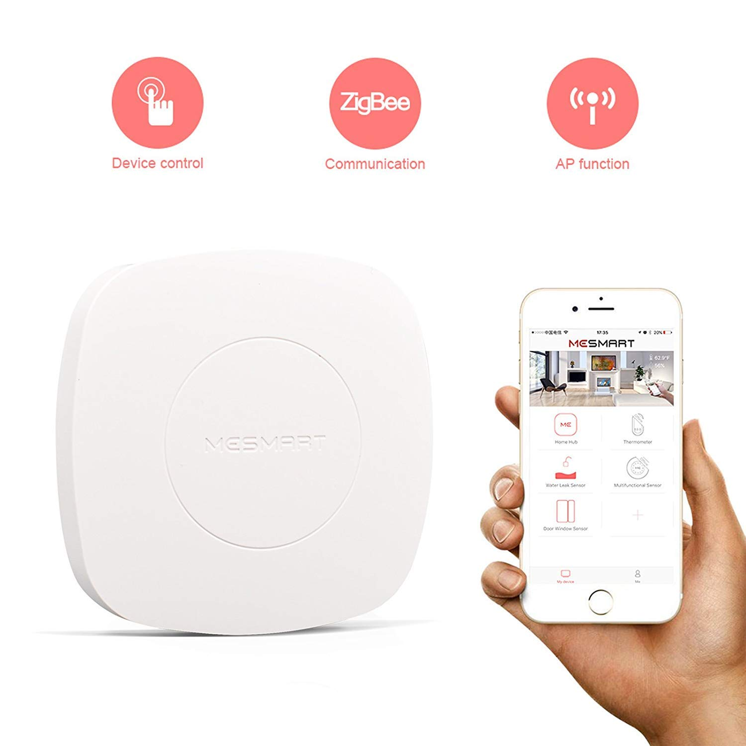 MESMART Wireless Connected Smart Home Hub Controller Secuirty Automation System Brain Center Zigbee Compatible with Amazon Alexa by MESMART (Image #2)