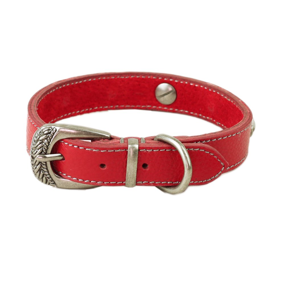 Red Width 4 5\ Red Width 4 5\ DMC Pet Supplies Luxury Adjustable Leather Dog Collar, Width 4 5  by Length 12 -14.5 , Red