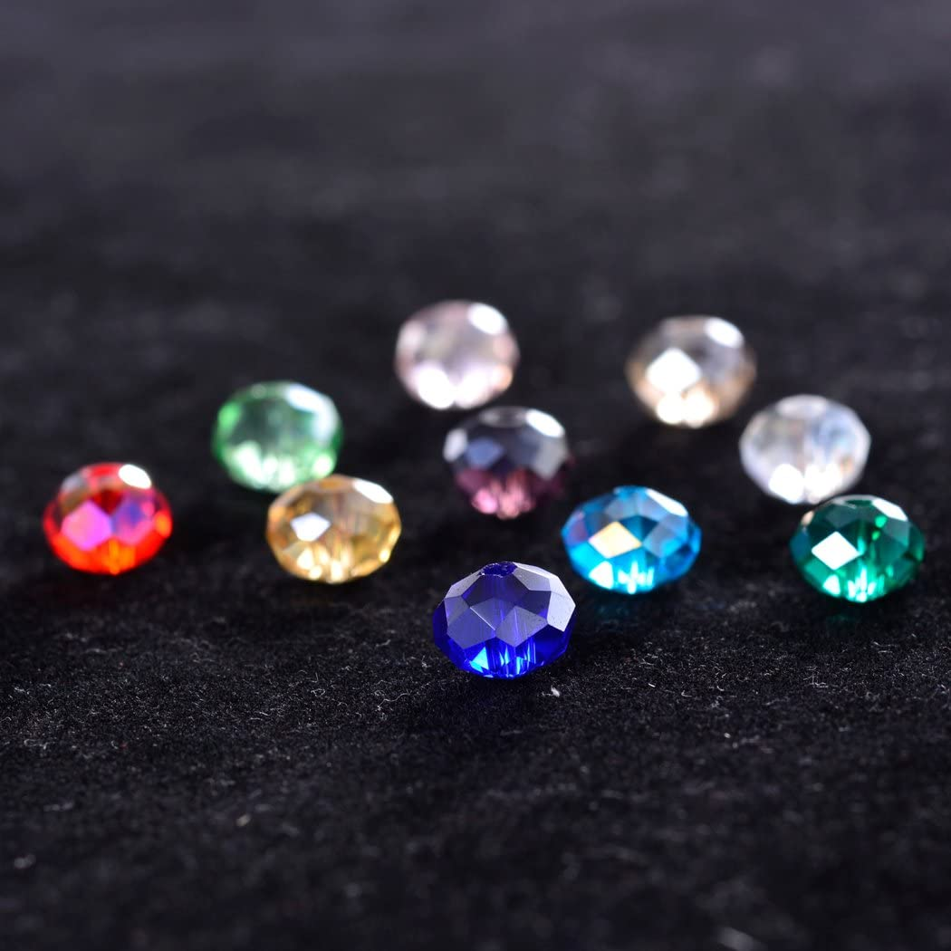 8mm Renashed Briolette Crystal Glass 300pcs 8mm Beads Finding Spacer Beads Faceted with Container Box Beads for Making Jewelry 10 Colors