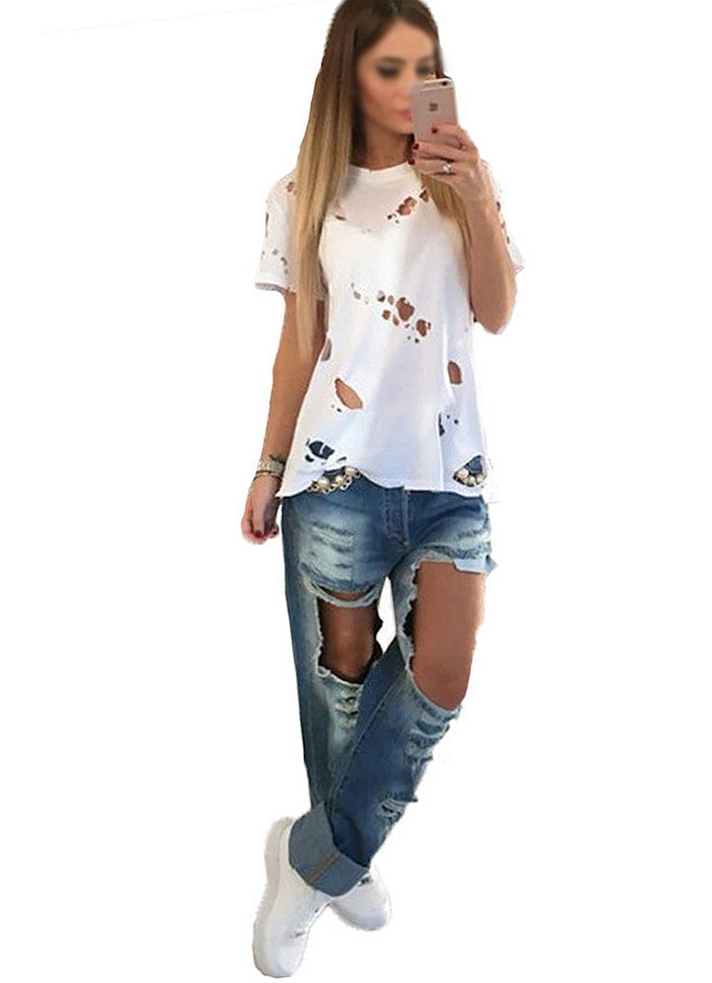 Women Fashion Holes Hollow Out CottonT-Shirt Shirt Casual O-Neck Short Sleeve Loose Shirts Tops Cover Ups White 2XL