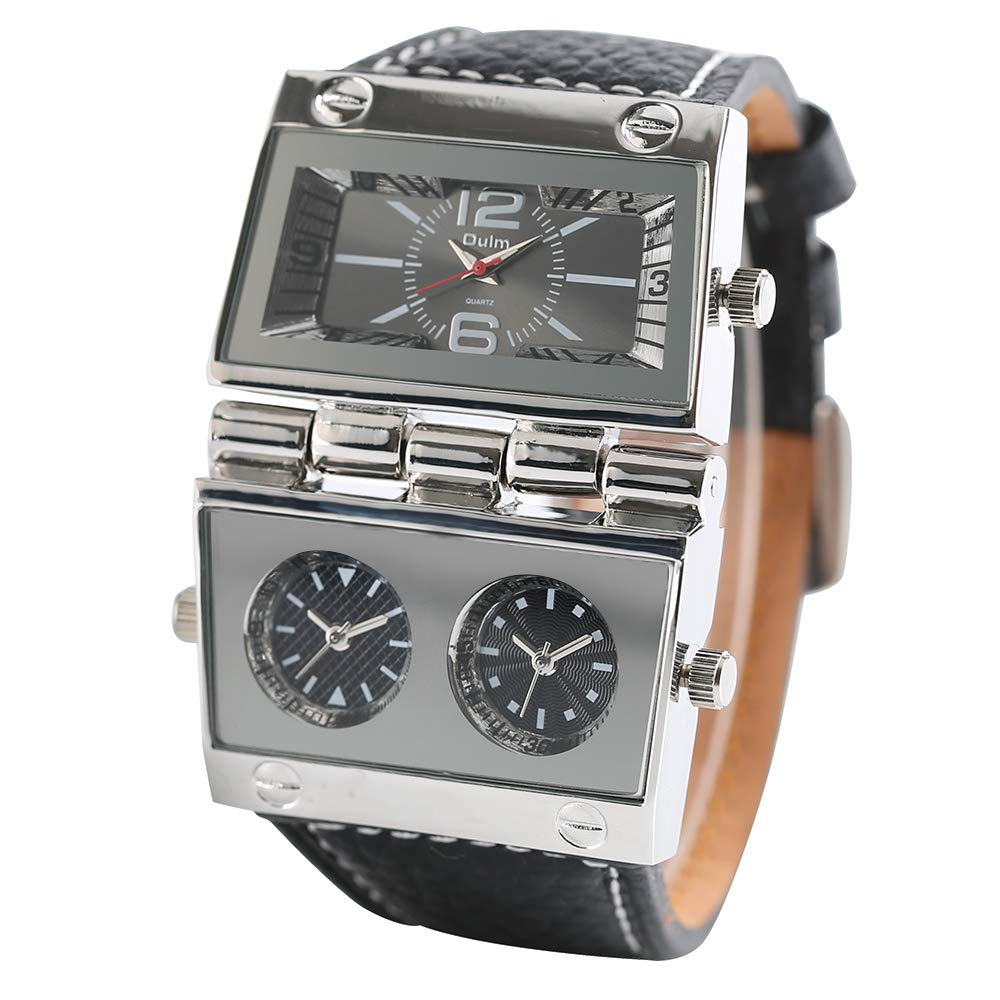 Watches for Men Women, OULM Large Watch for Men, Rectangle Radio Style Gig Dial Unique Quartz Wristwatch by Oulm (Image #3)