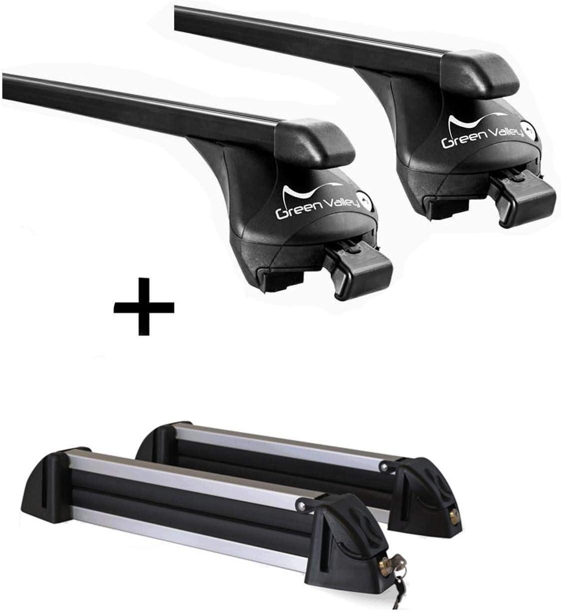 ab 2015 Skitr/äger//Snowboardtr/äger//Skihalter Alu 4 Paar Ski kompatibel mit BMW X4 VDP Relingtr/äger Quick Stahl XL F26