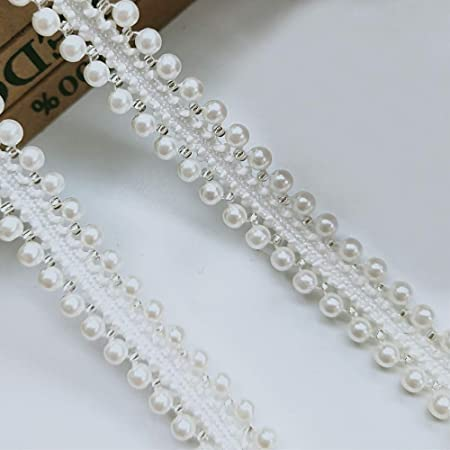 Kesheng Lace Bead Ribbon Embroidered Applique for Sewing Clothes Crafts Wedding Bridal Decoration About 1 Yards