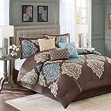 Madison Park Monroe 7 Piece Comforter Set, Queen, Brown