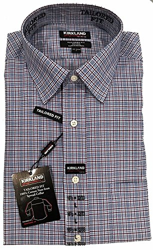 Kirkland Signature Men's Tailored Fit Non-Iron Spread Collar Button-Down Shirt (Blue/Red Multi Plaid, 15 1/2 - 34/35)