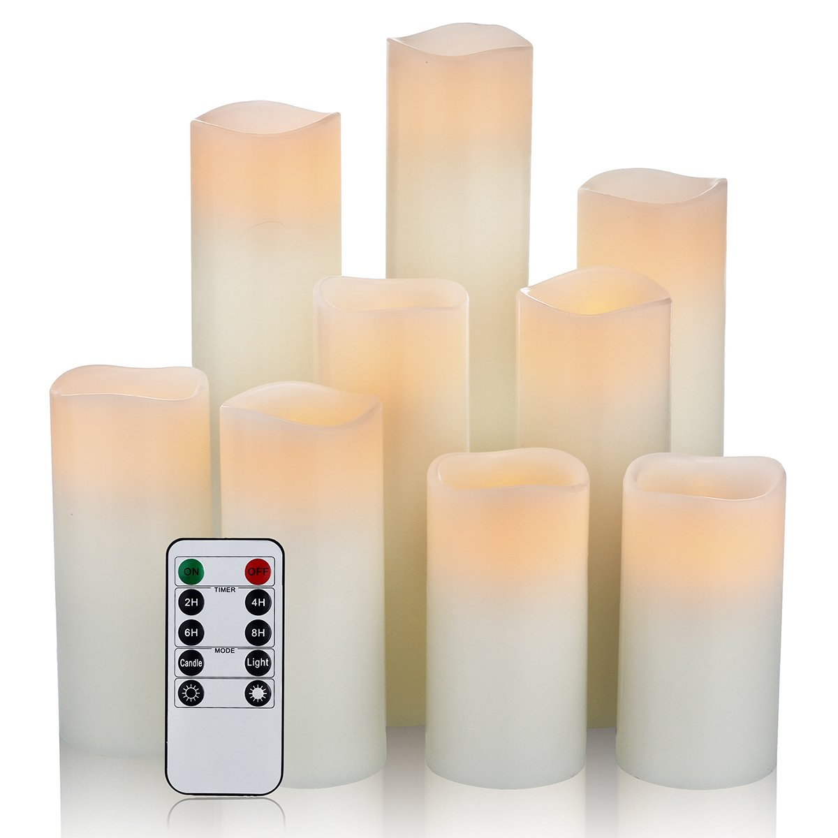 Flameless White LED Pillar Candles with Remote - Set of 9