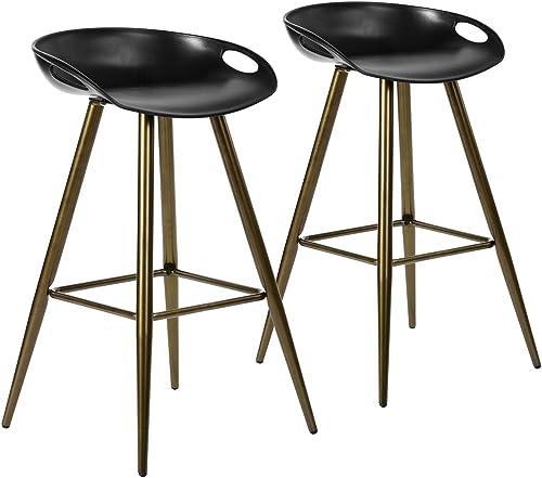 FurnitureR 2Pcs Set Pub Bar Stools Retro Design Metal Round Counter Height Stool Low Back Bar Chair Bronze